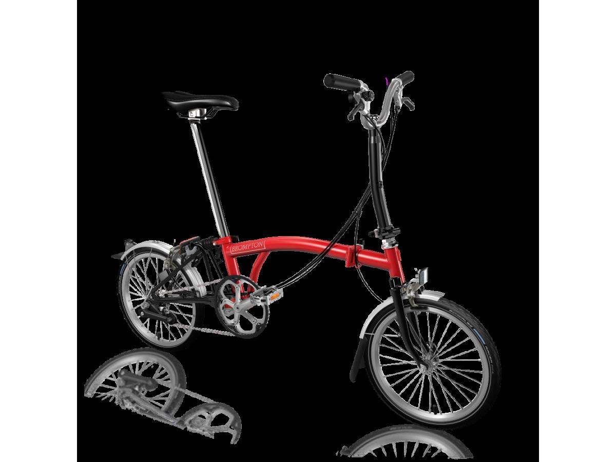Bicicleta plegable Brompton M6L Rojo - Negro