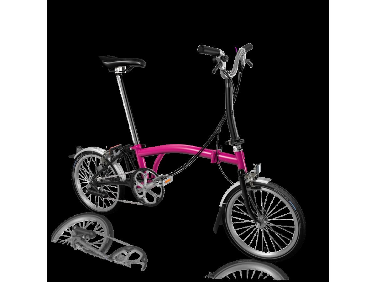 Bicicleta plegable Brompton M6L Rosa - Negre
