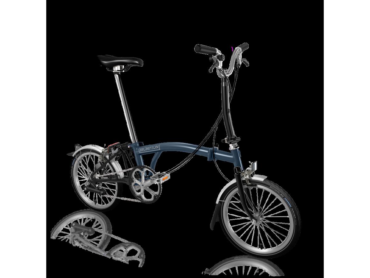 Bicicleta plegable Brompton M6L Blau fosc - Negre