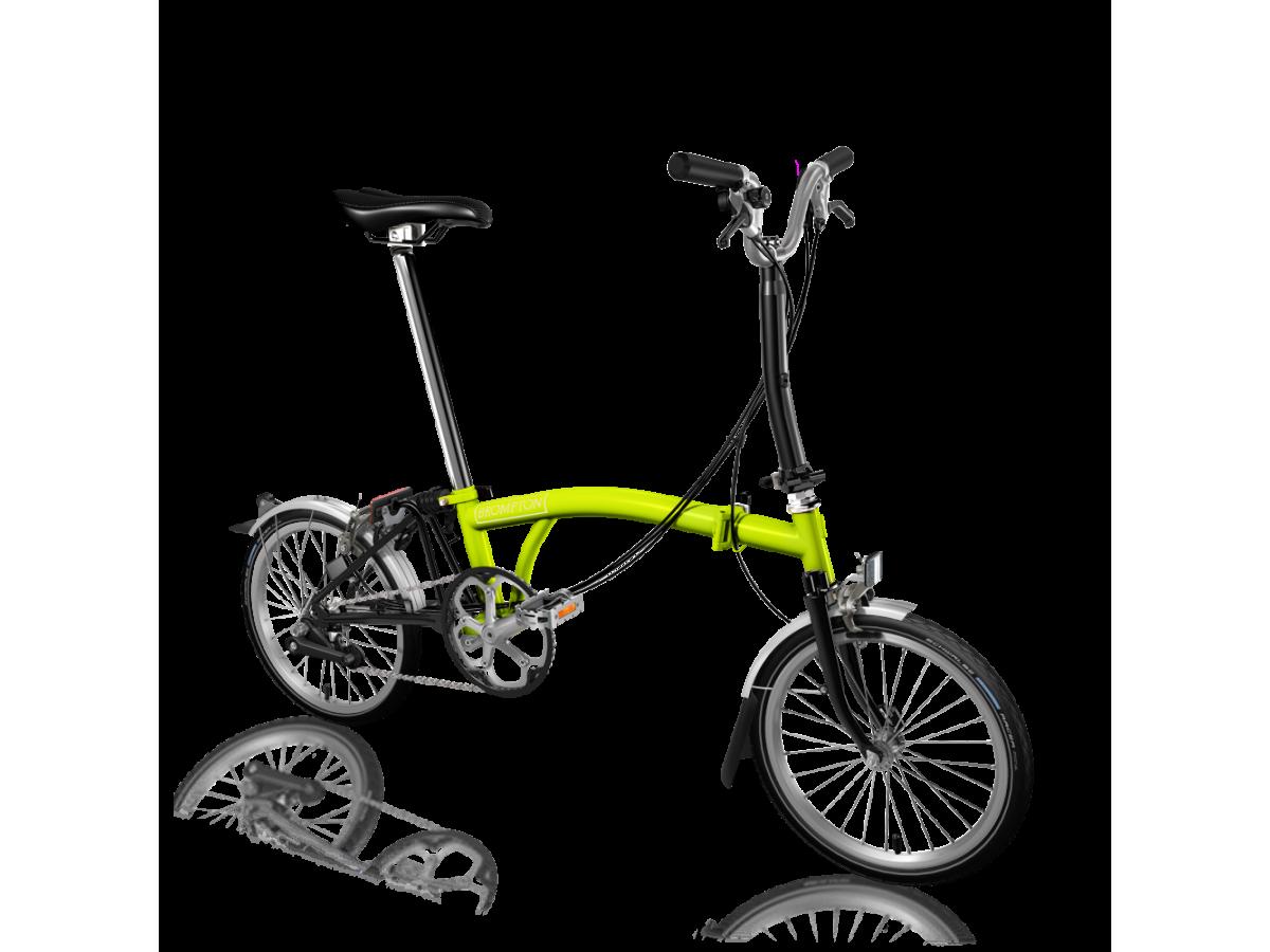 Bicicleta plegable Brompton M6L Verd lima - Negre