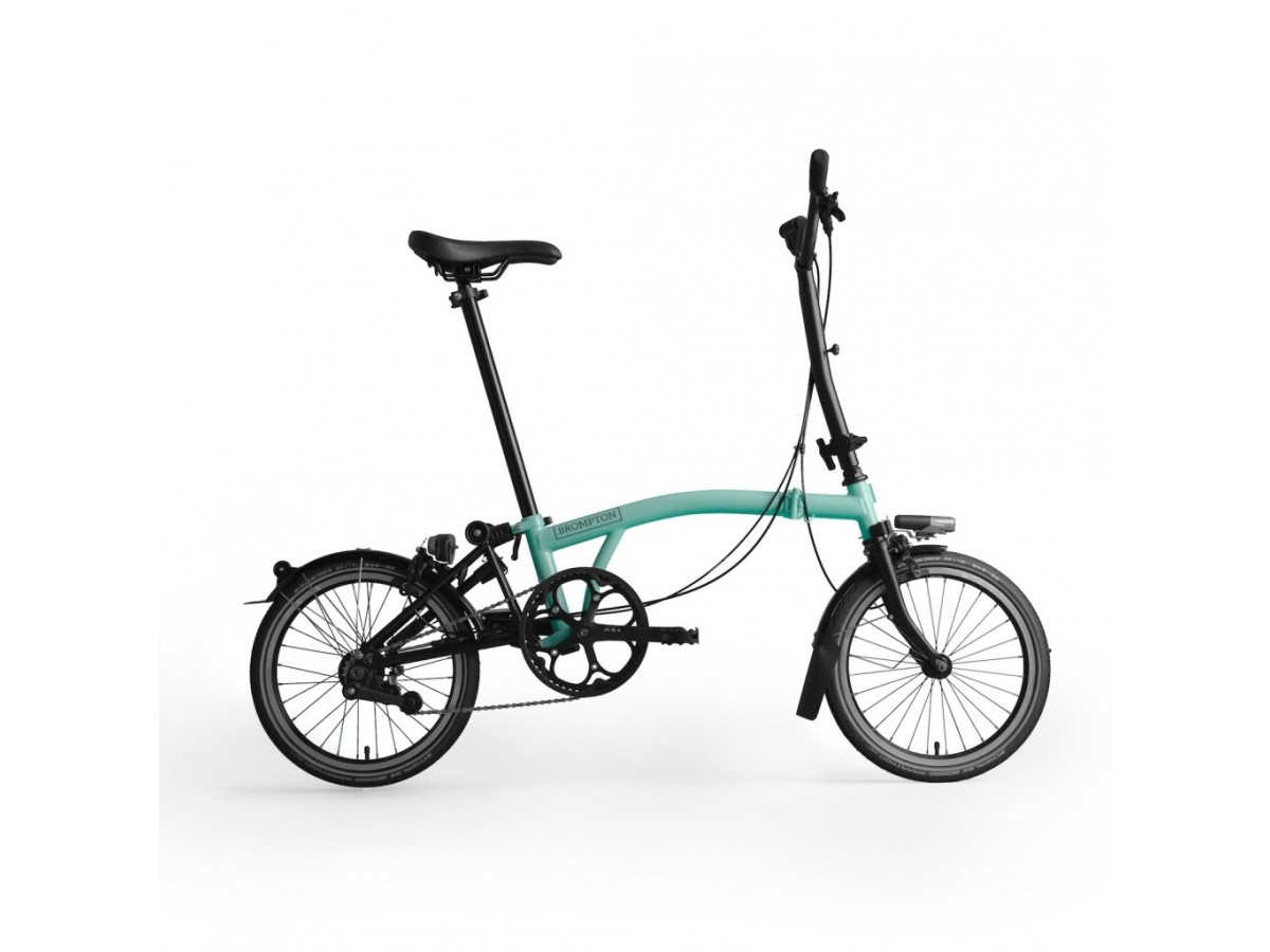 Bicicleta plegable Brompton M6L Black Edition - Turquesa brillo